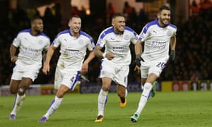 Leicester players celebrate against West Brom