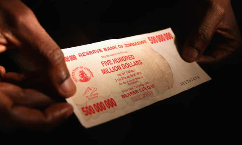 A 500 million dollar Zimbabwaen bank note in 2008.