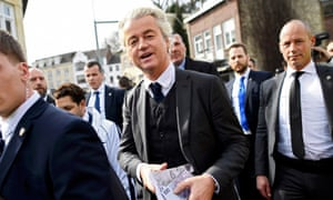 Far-right politician Geert Wilders campaigning in Valkenburg on Saturday.
