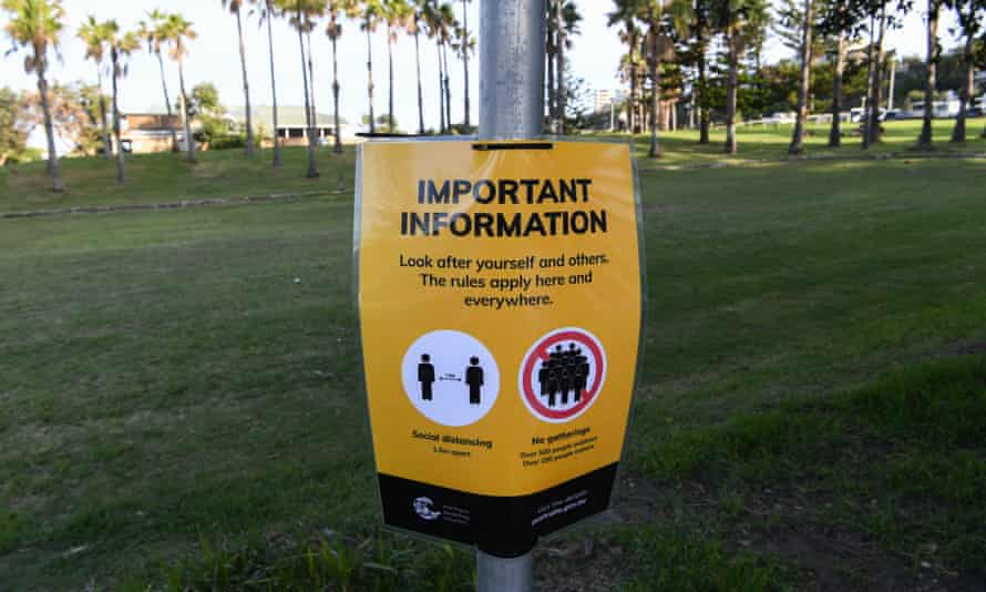 A social distancing sign at Freshwater beach in Sydney