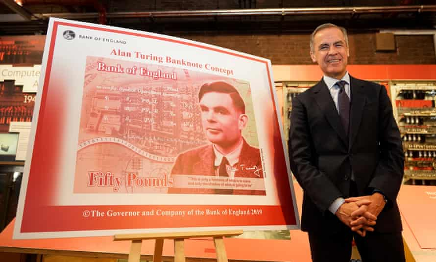 The governor of the Bank of England, Mark Carney, reveals Alan Turing as the new figure to be depicted on the £50 note.