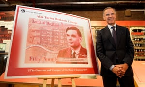Mark Carney, governor of the Bank of England, with a design for the new £50 note featuring Alan Turing