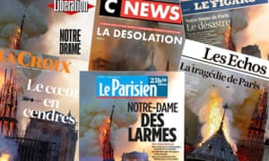 The French newspaper front pages on 16 April, the day after the Notre Dame cathedral fire