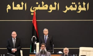 The president of the Tripoli-based General National Congress, Nuri Abu Sahmain, leads a parliament session in the Libyan capital. Libya has had rival administrations since August 2014.