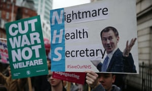 Protests against Jeremy Hunt during his time as health secretary
