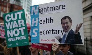 Proteste gegen Jeremy Hunt während seiner Zeit als Gesundheitsminister