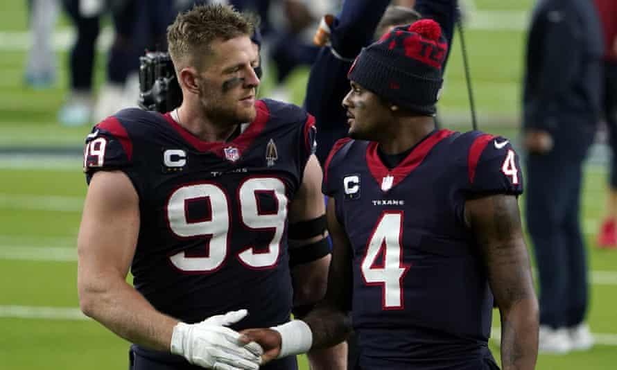 Deshaun Watson (4) talks to his Houston Texans teammate JJ Watt after the final game of the 2020 season