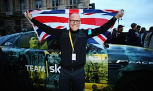 Team Sky manager David Brailsford at the 2015 Tour de France in Paris.