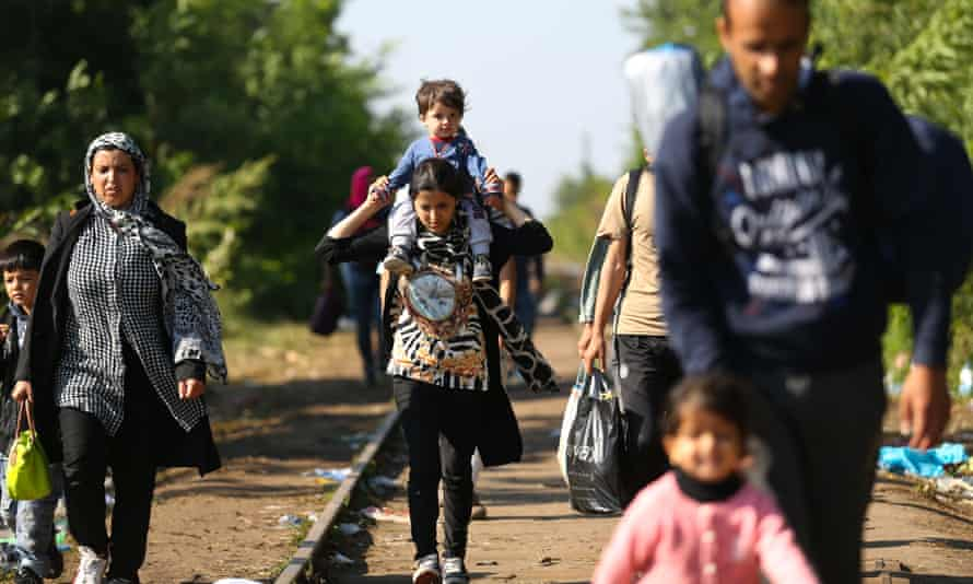 Refugees in Hungary on Monday