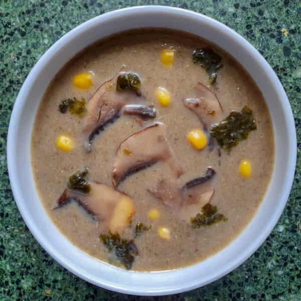 Raj's mushroom soup with toasted seaweed and miso.
