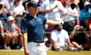 Jordan Spieth watches his tee shot on the 1st