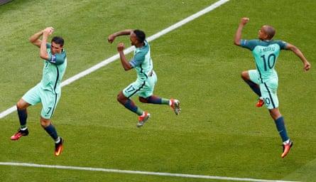 Three Sporting academy graduates – Cristiano Ronaldo, Nani and João Mário – in action for Portugal at Euro 2016.