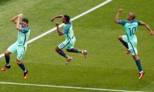 Cristiano Ronaldo, left, Nani and João Mário, right, lead the celebrations