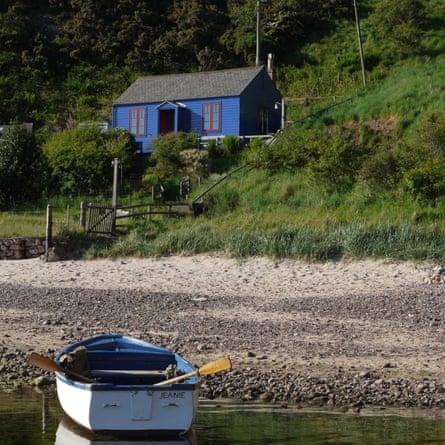 Blue Cabin by the Sea Cove Harbour, Berwickshire, Scotland