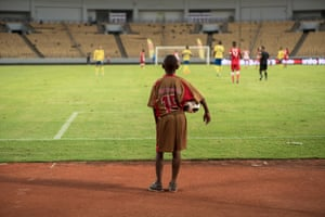 The ballboy on the touchline