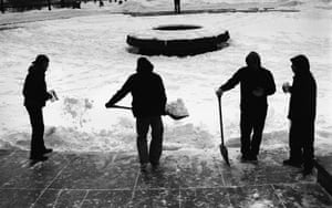 Local skateboarders shovel snow to skate LOVE.