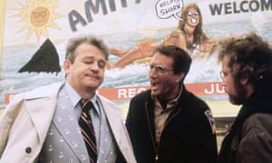 Murray Hamilton as Larry Vaughn with Roy Scheider and Richard Dreyfuss in Jaws.