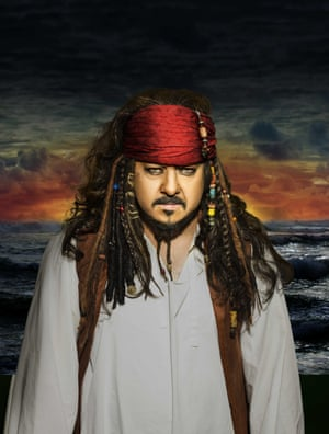 Peter Wright as Johnny Depp's character in Pirates of the Caribbean.