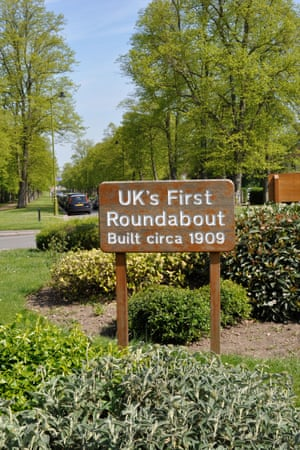 The UK's first roundabout, at Letchworth Garden City in Hertfordshire.