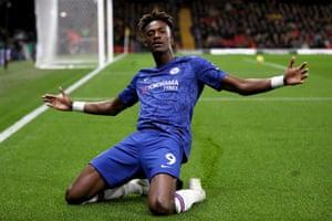 Abraham celebrates his finish.
