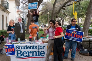 Students for Bernie Sanders at the University of Texas in Austin during the presidential primary in Austin, Texas on Super Tuesday, March 3, 2020.
