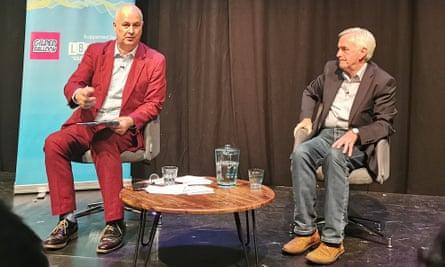 John McDonnell (right) talks to journalist Iain Dale at the Edinburgh festival fringe.