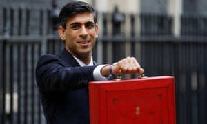The chancellor, Rishi Sunak, holds the budget box outside 11 Downing Street