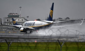 A Ryanair plane lands at Ciampino airport in Rome