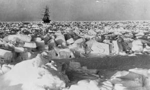 Ernest Shackleton's ship SS Nimrod in the Antarctic.
