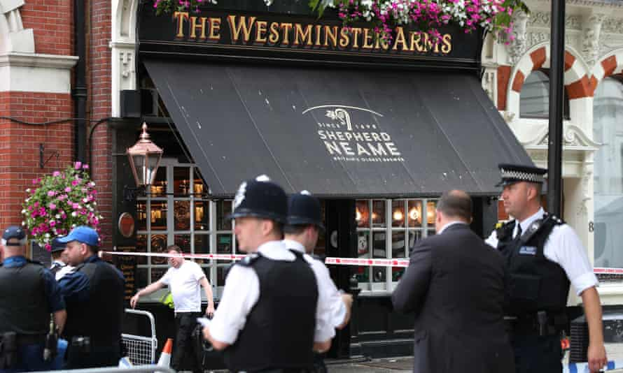Police officers outside the Westminster Arms