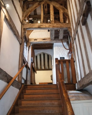 Wooden stairwell to St Swithun-Upon-Kingsgate, Winchester