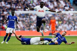 Tottenham's Moussa Sissoko skips over a double challenge from Everton's Yerry Mina and Morgan Schneiderlin as the sides draw 2-2 at the Tottenham Hotspur Stadium. Tottenham's run of four consecutive top-four finishes in the top-flight is their best run since a run of five between 1959-60 and 1963-64.