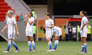 The USA women's team contemplate defeat after Sweden knocked them out of the Olympics in a shootout in Brasília.