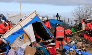 Calais Jungle camp being dismantled