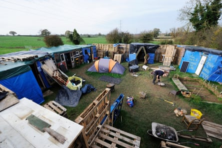 The protest camp known as Dudleston Castle that was set up on Paul Hickson's farm to protest drilling