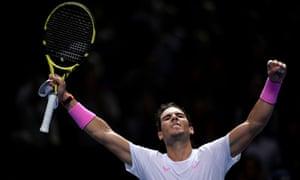 Rafael Nadal celebrates winning the match.