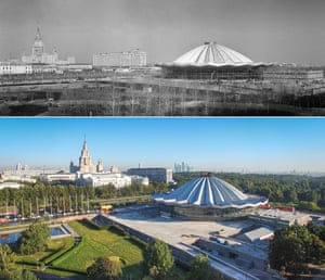 <strong>1971</strong><br><br>The Great Moscow Circus on Vernadsky Avenue under construction; and not looking too different in 2015.