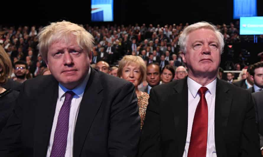 Boris Johnson and David Davis at the Tory party conference in October, 2017