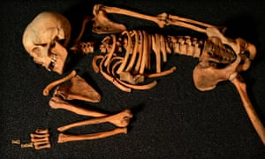 Ancient skeletons found in diverse locations across the UK are on show at the Hunterian Art Gallery in Glasgow.