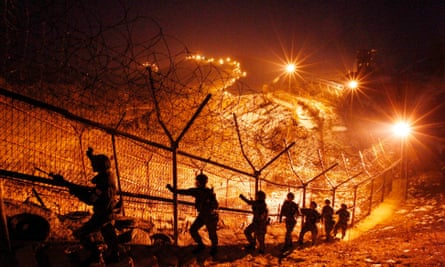 Barbed wire fences between North and South Korea.