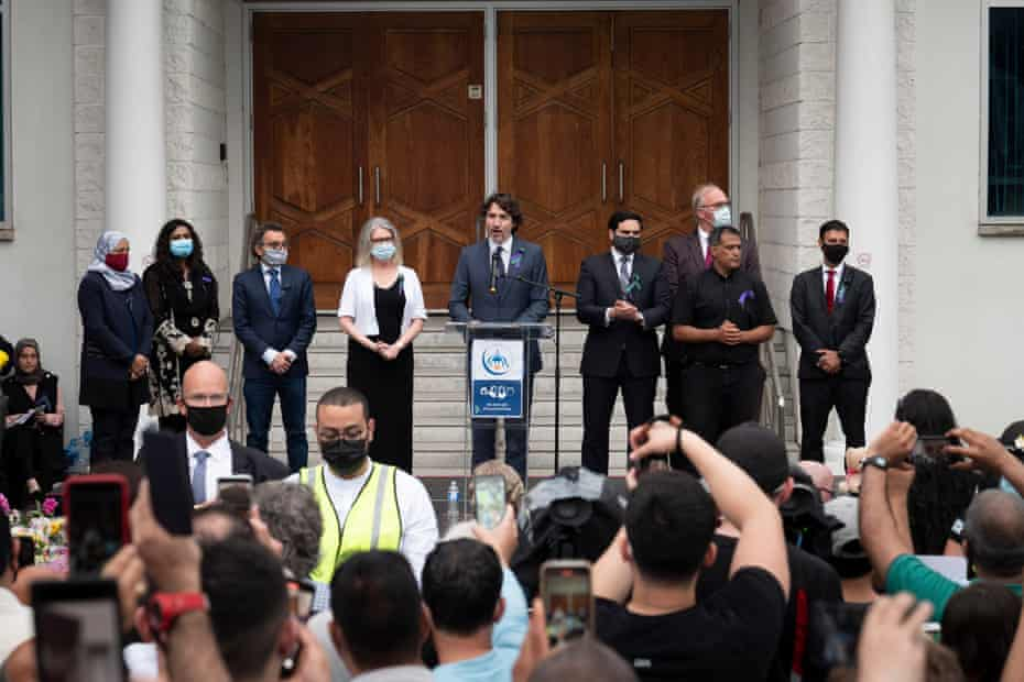 Canadian Prime Minister Justin Trudeau addressed members of the Muslim community and supporters during a vigil at the Muslim Mosque in London on Tuesday in London, Canada.