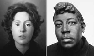 The reconstructed face of a woman and, right, the sculpture that led to the identification of Rosella Atkinson.