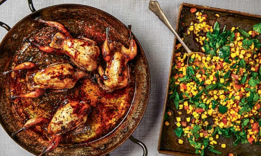 Thomasina Miers' quail and spicy warm corn salad