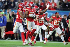 Kendall Fuller of the Kansas City Chiefs celebrates after an interception as the Chiefs surge to their first Super Bowl win in 50 years.