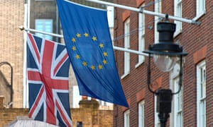 British and European flags outside the former conservative party central office in London, UK.