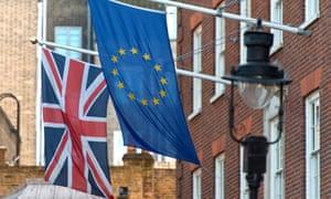 The Union flag and the EU flag.