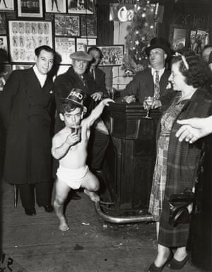 Shorty, the Bowery Cherub on New Year's Eve at Sammy's Bar in 1943