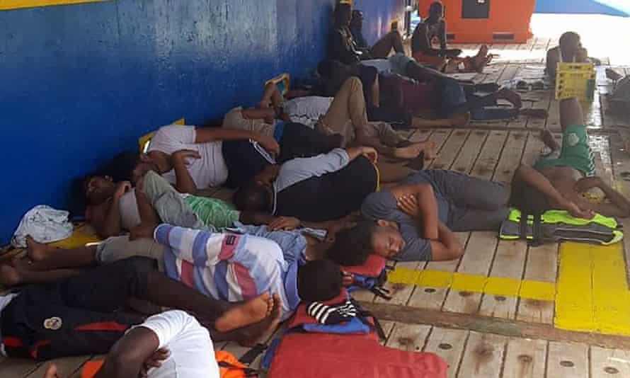 Migrants stranded aboard the Tunisian gas tanker Sarost 5