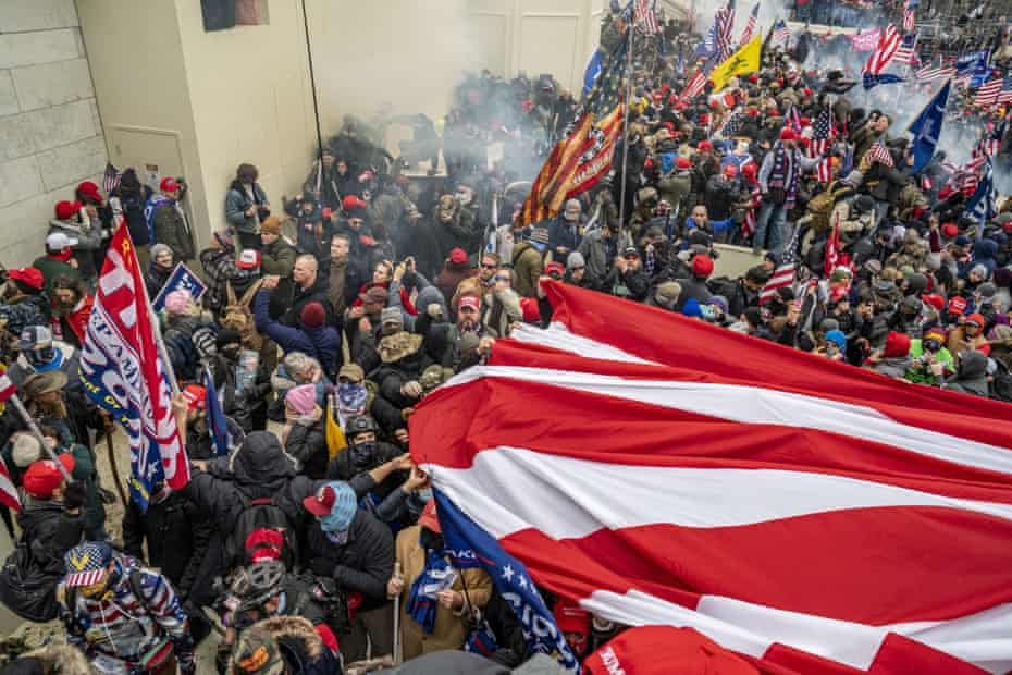Pro-Trump rioters breach the security perimeter and storm the US Capitol.