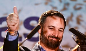 Santiago Abascal, leader of the far-right Vox party, gives a thumbs-up during an election night rally in Madrid.